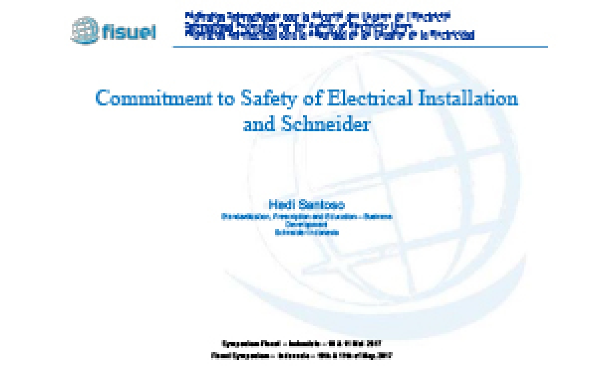 Commitment to Safety of Electrical Installation and Schneider